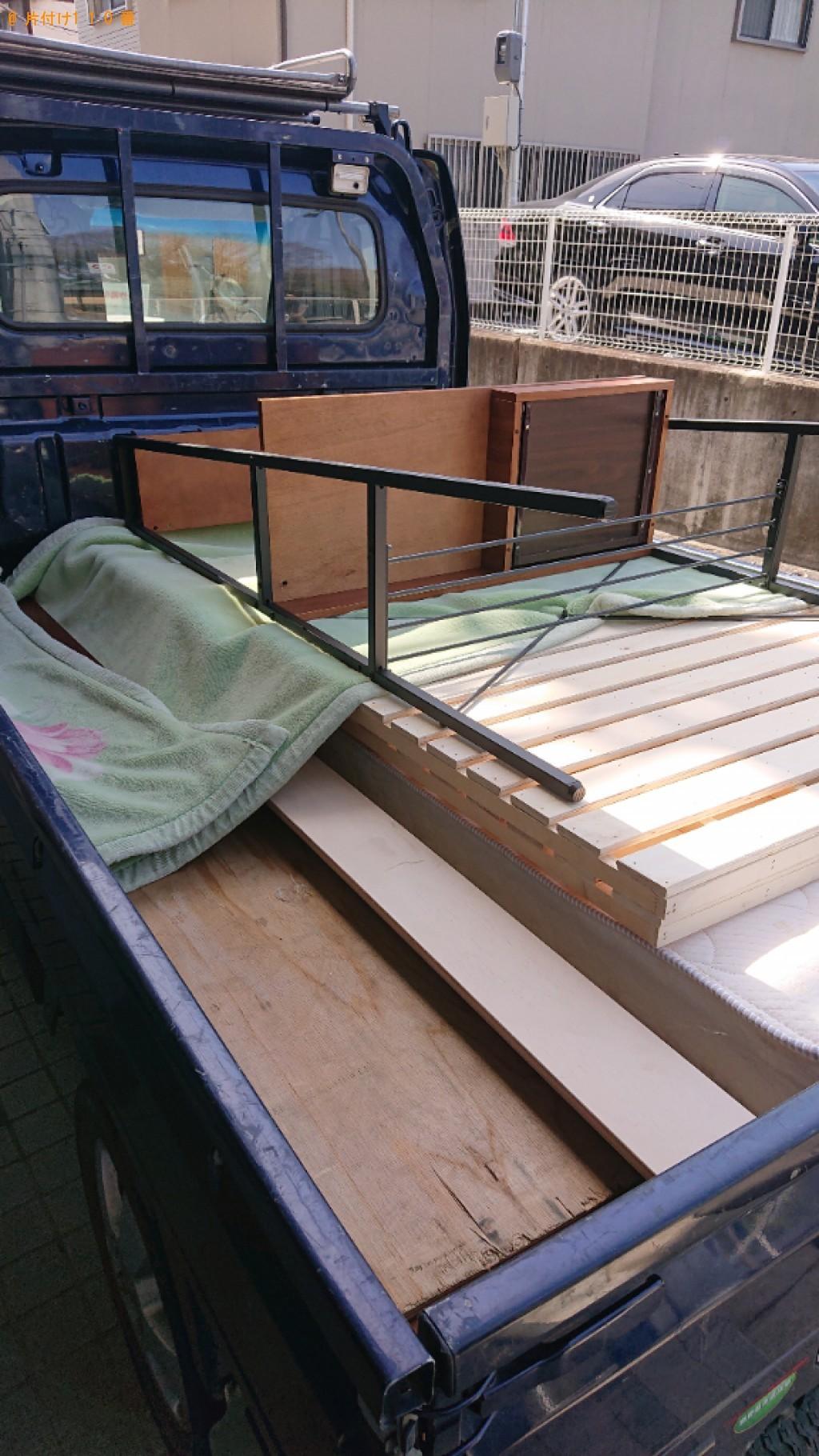 【富山市】マットレス付きシングルベッド、システムデスクの回収
