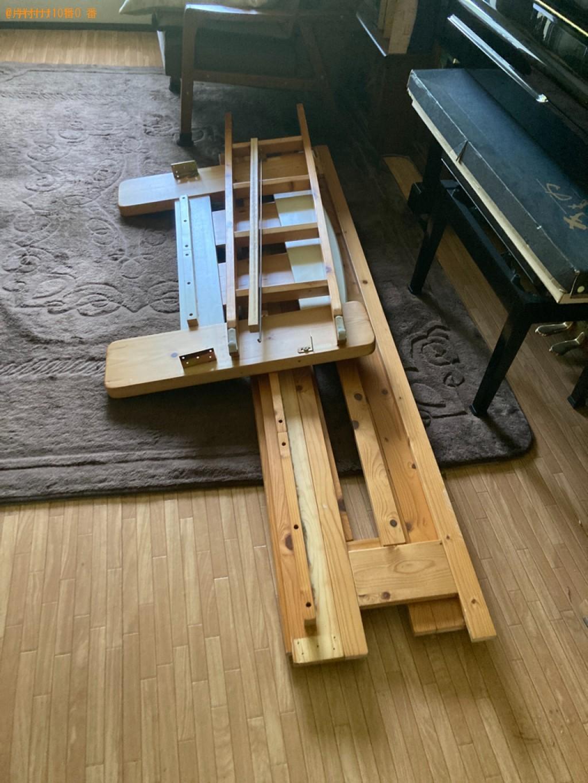 【富山市】シングルベッド、学習机、ストーブ、布団、椅子の回収